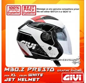 GIVI JET HELMET M30.2 PRESTO XL GRAPHIC RACING WHITE