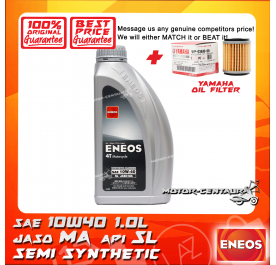 YAMAHA OIL FILTER LC135 + ENEOS SYNTHETIC BLEND 4T ENGINE LUBRICANT SAE10W40 MA 1L