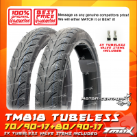 TMAX TUBELESS TYRES TM818 70/90-17 + 80/90-17