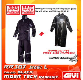 GIVI RRS07 RAINCOAT L + RAINBOW PVC FREE SIZE RAINCOAT