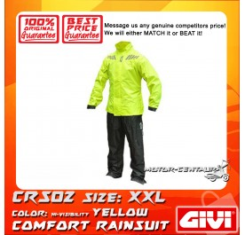 GIVI COMFORT RAINSUIT CRS02 XXL HIGH VISIBILITY YELLOW