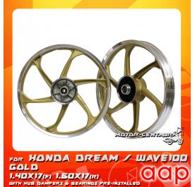 AAP SPORT RIM 1.40X17(F) 1.60X17(R) W/BEARINGS & HUB RUBBERS DREAM / WAVE 100 GOLD