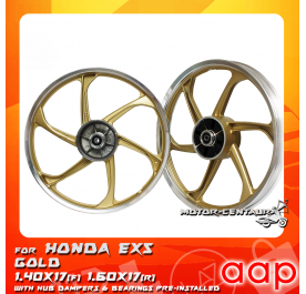 AAP SPORT RIM 1.40X17(F) 1.60X17(R) W/BEARINGS & HUB RUBBERS EX5 GOLD