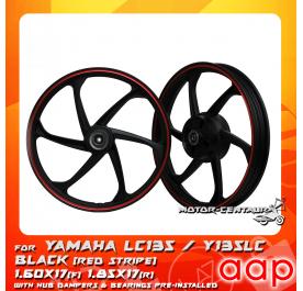 AAP SPORT RIM 1.60X17(F) 1.85X17(R) W/BEARINGS & HUB RUBBERS LC135 BLACK WITH RED STRIPE