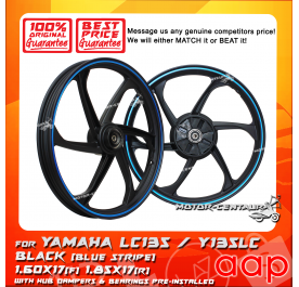 AAP SPORT RIM 1.60X17(F) 1.85X17(R) W/BEARINGS & HUB RUBBERS LC135 BLACK WITH BLUE STRIPE
