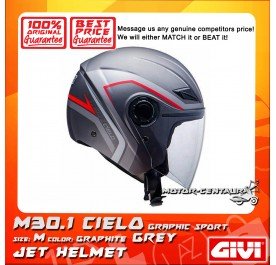GIVI JET HELMET M30.1 CIELO M GRAPHIC SPORT GRAPHITE GREY