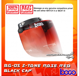 BOGO VISOR BG-05 2-TONE ROSE RED, BLACK-CAP
