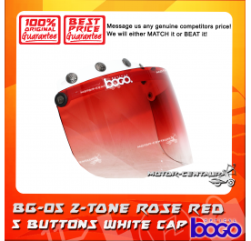 BOGO VISOR BG-05 2-TONE ROSE RED, 5 BUTTONS WHITE-CAP