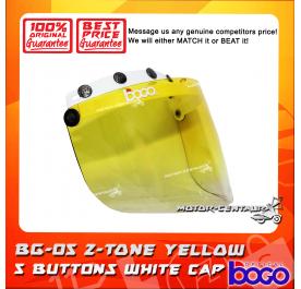 BOGO VISOR BG-05 2-TONE YELLOW, 5 BUTTONS WHITE-CAP