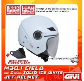 GIVI JET HELMET M30.1 CIELO S SOLID ICE WHITE + TINTED VISOR