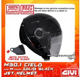 GIVI JET HELMET M30.1 CIELO M SOLID BLACK + TINTED VISOR