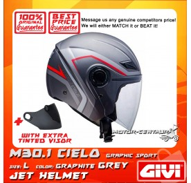 GIVI JET HELMET M30.1 CIELO L GRAPHIC SPORT GRAPHITE GREY + TINTED VISOR
