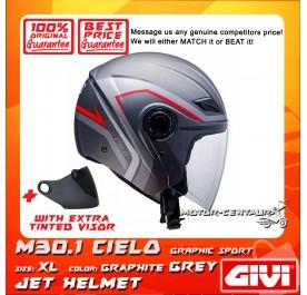 GIVI JET HELMET M30.1 CIELO XL GRAPHIC SPORT GRAPHITE GREY + TINTED VISOR