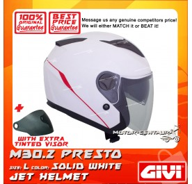 GIVI JET HELMET M30.2 PRESTO L SOLID WHITE + TINTED VISOR
