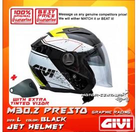 GIVI JET HELMET M30.2 PRESTO L GRAPHIC RACING BLACK + TINTED VISOR