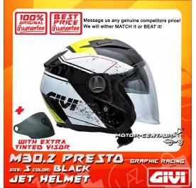 GIVI JET HELMET M30.2 PRESTO S GRAPHIC RACING BLACK + TINTED VISOR