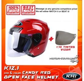 KHI HELMET K12.1 CANDY RED L + TINTED VISOR
