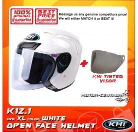 KHI HELMET K12.1 WHITE XL + TINTED VISOR