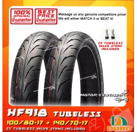 DURO TUBELESS TYRE HF918 100/80-17 + 140/70-17