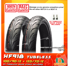 DURO TUBELESS TYRE HF918 100/90-12 + 120/70-12