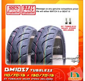 DURO TUBELESS TYRE DM1057 110/70-13 + 130/70-13