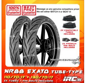 IRC TUBELESS TYRE EXATO NR88 110/70-17 + 130/70-17 + TUBES