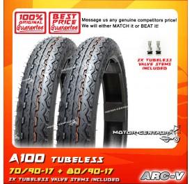 ARC-V TUBELESS TYRE A100 70/90-17 + 80/90-17