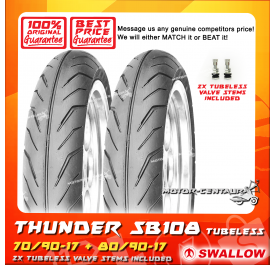 SWALLOW TUBELESS TYRE SB108 THUNDER 70/90-17 + 80/90-17