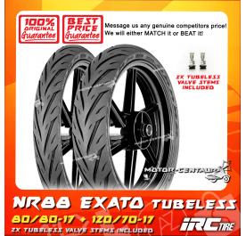 IRC TUBELESS TYRE EXATO NR88 80/80-17 + 120/70-17