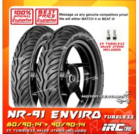IRC TUBELESS TYRE ENVIRO NR91 80/90-14 + 90/90-14