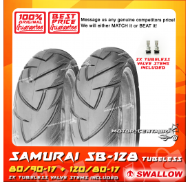 SWALLOW TUBELESS TYRE SB-128 SAMURAI 80/90-17 + 120/80-17