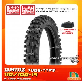 DURO TUBELESS TYRE DM1112 110/100-19 WITH ORS TUBE