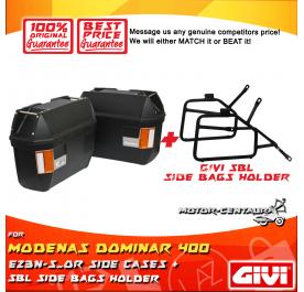 GIVI E23N-S-OR SIDE CASES + GIVI MODENAS DOMINAR 400 SBL SIDEBAG HOLDER