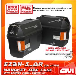 GIVI MONOKEY SIDE CASES CRUISER E23N-S_OR BLACK (ORANGE SIGNALS LIGHT)