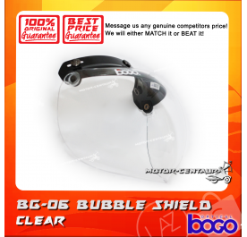 BOGO BUBBLE SHIELD VISOR BG-06 CLEAR, BLACK-CAP