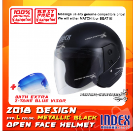 INDEX HELMET METALLIC BLACK + 2-TONE BLUE VISOR