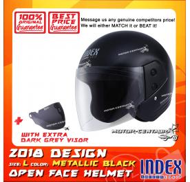 INDEX HELMET METALLIC BLACK + DARK GREY VISOR