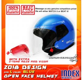 INDEX HELMET BLUE + 2-TONE ROSE RED VISOR