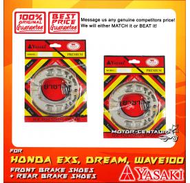 YASAKI PREMIUM FRONT + REAR DRUM BRAKES SHOES FOR HONDA EX5 DREAM (NON-FI)