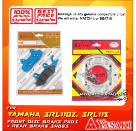 YASAKI FRONT DISC BRAKE PADS + REAR PREMIUM DRUM BRAKE SHOES FOR YAMAHA SRL110Z