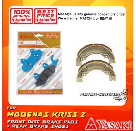 YASAKI FRONT DISC BRAKE PADS + REAR PREMIUM DRUM BRAKE SHOES FOR MODENAS KRISS 2