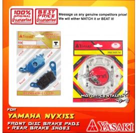YASAKI FRONT DISC BRAKE PADS + REAR PREMIUM DRUM BRAKE SHOES FOR YAMAHA NMAX
