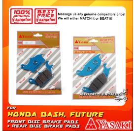 YASAKI FRONT DISC BRAKE PADS + REAR DISC BRAKE PADS FOR HONDA WAVE DASH, FUTURE