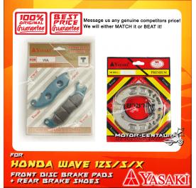 YASAKI FRONT DISC BRAKE PADS + REAR PREMIUM DRUM BRAKE SHOES FOR HONDA WAVE 125