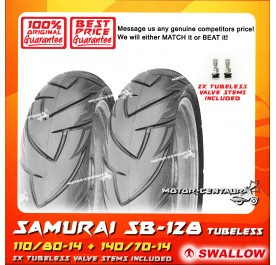 SWALLOW TUBELESS TYRE SAMURAI SB128 110/80-14 + 140/70-14