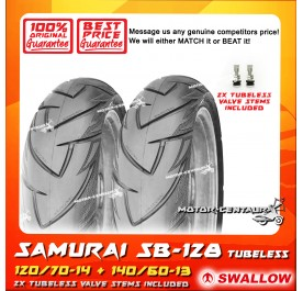 SWALLOW TUBELESS TYRE SAMURAI SB128 120/70-14 + 140/60-13