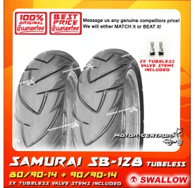 SWALLOW TUBELESS TYRE SAMURAI SB128 80/90-14 + 90/90-14