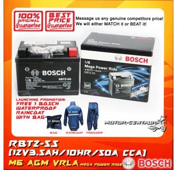 BOSCH M6 MEGA POWER RIDE AGM VRLA BATTERY RBTZ-5S + BOSCH RAIN COAT (LAUNCHING PROMOTION)