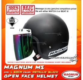 MAGNUM M5 HELMET BLACK + BIKKO IRIDIUM RAINBOW VISOR (5 BUTTONS)