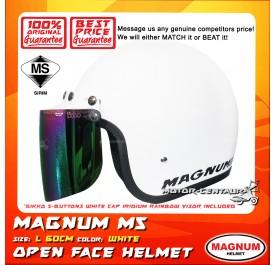 MAGNUM M5 HELMET WHITE  + BIKKO IRIDIUM RAINBOW VISOR (5 BUTTONS)